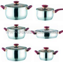 Набор посуды 12 предметов (сков. 24см, кастр. 1,5л.,2л.,3л.,5л.ковш 1,5л.) красные ручки