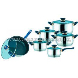 Набор посуды 12 предметов (сков. 24см, кастр. 1,5л.,2л.,3л.,5л.ковш 1,5л.) синие ручки